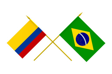 Flags, Brazil and Colombia