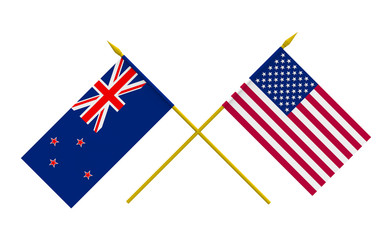 Flags, USA and New Zealand