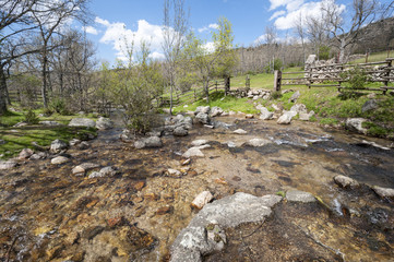 Small stream in Lozoya Valley, Rascafria, Madrid, Spain