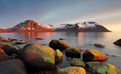 Sunset in Norwegian coast, Senja