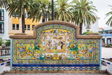 Ornate tiles on a bench in Ayamonte