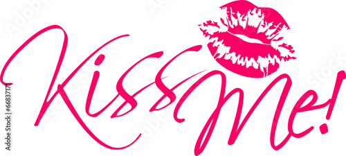 canvas print picture Kiss Me Design Pink