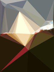 Abstract background of polygons resembling sunrise