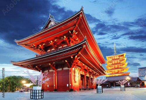 Deurstickers Aziatische Plekken Tokyo - Sensoji-ji, Temple in Asakusa, Japan