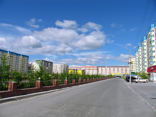 Nadym, Russia - June 22, 2005: City street.