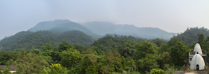 Panorama of Beatles ashram in Rishikesh from roof