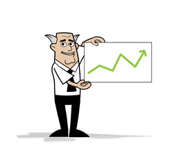 happy businessman shows growth chart