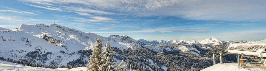 Alpine ski resort panorama