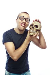 Nerd and skull