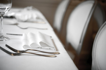 Restaurant Dinner white place setting