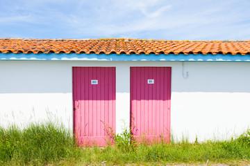 typique colored wooden houses in biganos port Arcachon