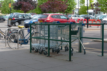 Shopping trolleys in a supermarket car park
