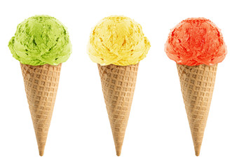 Green, yellow and red Ice cream