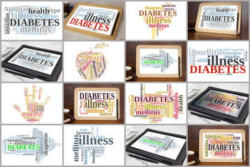 variation of diabetes word clouds