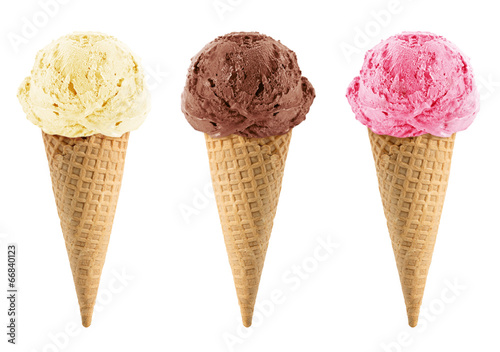 Chocolate, vanilla and strawberry Ice Cream Photo by designsstock