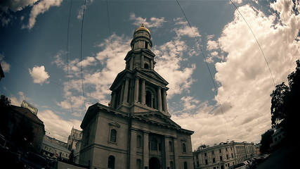 The Catholic cathedral in the old town (time lapse).