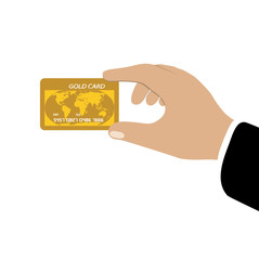 credit card gold in a hand
