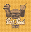banner with fast food with cola, hamburger and fries