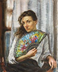 dipinto di una giovane donna con ventaglio