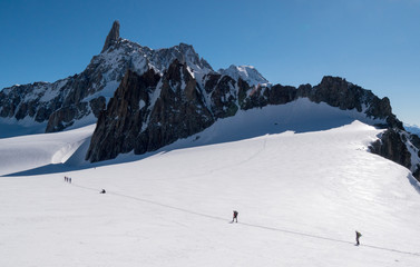 A group of mountaineers that aim to conquest the Dent du Geant p