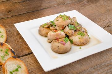 Mushroom salad with toast
