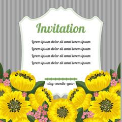 Retro invitation with yellow flowers