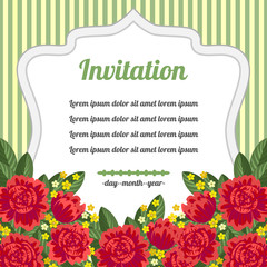 Retro invitation with red flowers