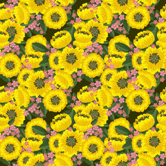Seamless yellow floral texture