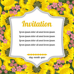 Invitation over yellow flowers