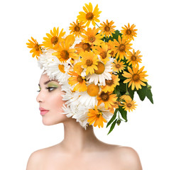Beauty Girl with Blooming Daisy Flowers Hair Style