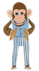 Monkey with cymbals toys line art