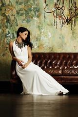 Elegant brunette woman posing