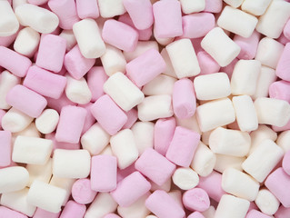 Pink and white mini marshmallows