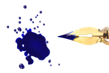 Pen and ink blot, isolated on white