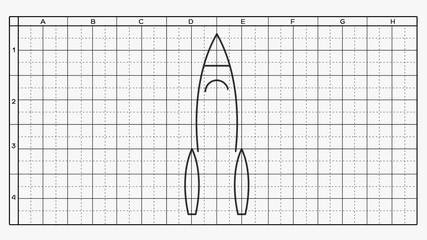 drawing of the rocket scheme on white sheet with grid