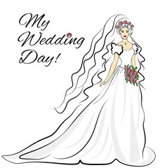 Vector silhouette of young woman in wedding dress