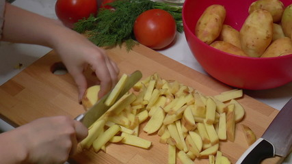 Peeled Potatoes Cut into Slices for Cooking, closeup