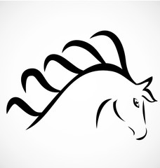 Head horse beautiful animal logo vector