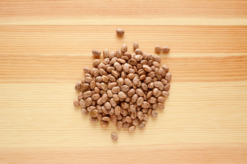Pinto beans on wood