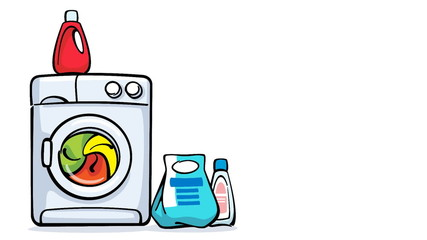cartoon washing machine working