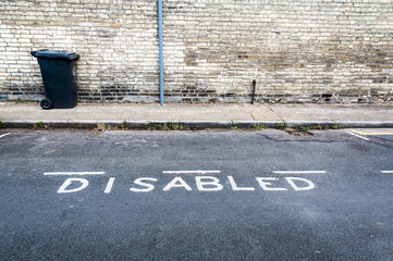 Empty diabled parking space on a street in London
