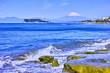 江ノ島と富士山と波飛沫