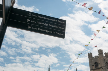 Cambridge Tourist information pole showing directions