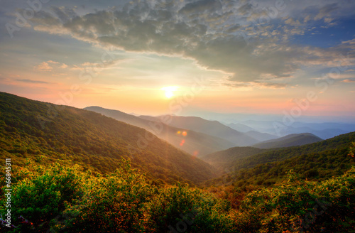 Sunset in the mountains - 66845311