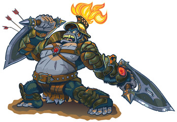 Gorilla Warrior Fantasy Vector Illustration