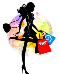 Lady Shopping in colours