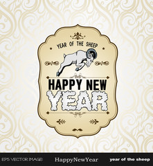 eps Vector image:Happy New Year! year of the sheep