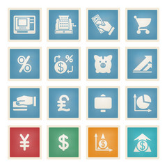 Finance white icons on color paper.