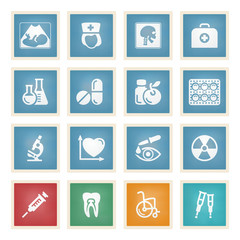 Medicine white icons on color paper.