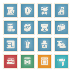 Home appliances white icons on color paper.